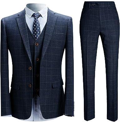 Trajes para hombre 3 piezas Slim Fit cuadros traje azul/negro solo pecho espiga traje vintage esmoquin formal chaqueta de negocios chaleco pantalones