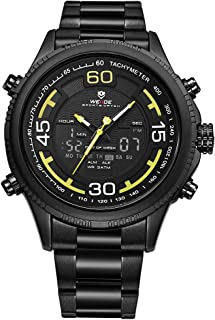 WEIDE WH6306 Quartz Digital Electronic Watch Three Sub-Dials Dual Time Week Second Minute Hour Display 3ATM Waterproof Tim...