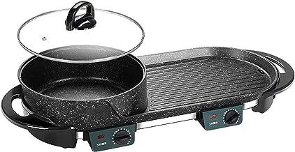 Grill électrique portable, Barbecue électrique chaude avec couvercle portable 2 en 1 électrique électrique chaude bbq fond...