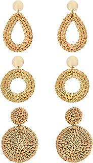 CEALXHENY Rattan Earrings for Women Handmade Straw Wicker...