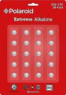 Polaroid Extreme AG1 364 363 164 LR60 LR621 SR621SW 1.5V Button Cell Alkaline Batteries Mercury Free 0% Hg (30-Pack) - 2025 Expiry Date
