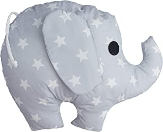 Elephant Pillow - Large Gray and White Soft Stuffed Animal - Cute Decorative Pillow for Elephant Decor, Playroom, Kids Room by Kuddl Pillows