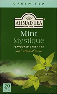 Ahmad Tea Mint Mystique Flavored Green Tea with Mint Leaves, 20-Count Boxes (Pack of 6)