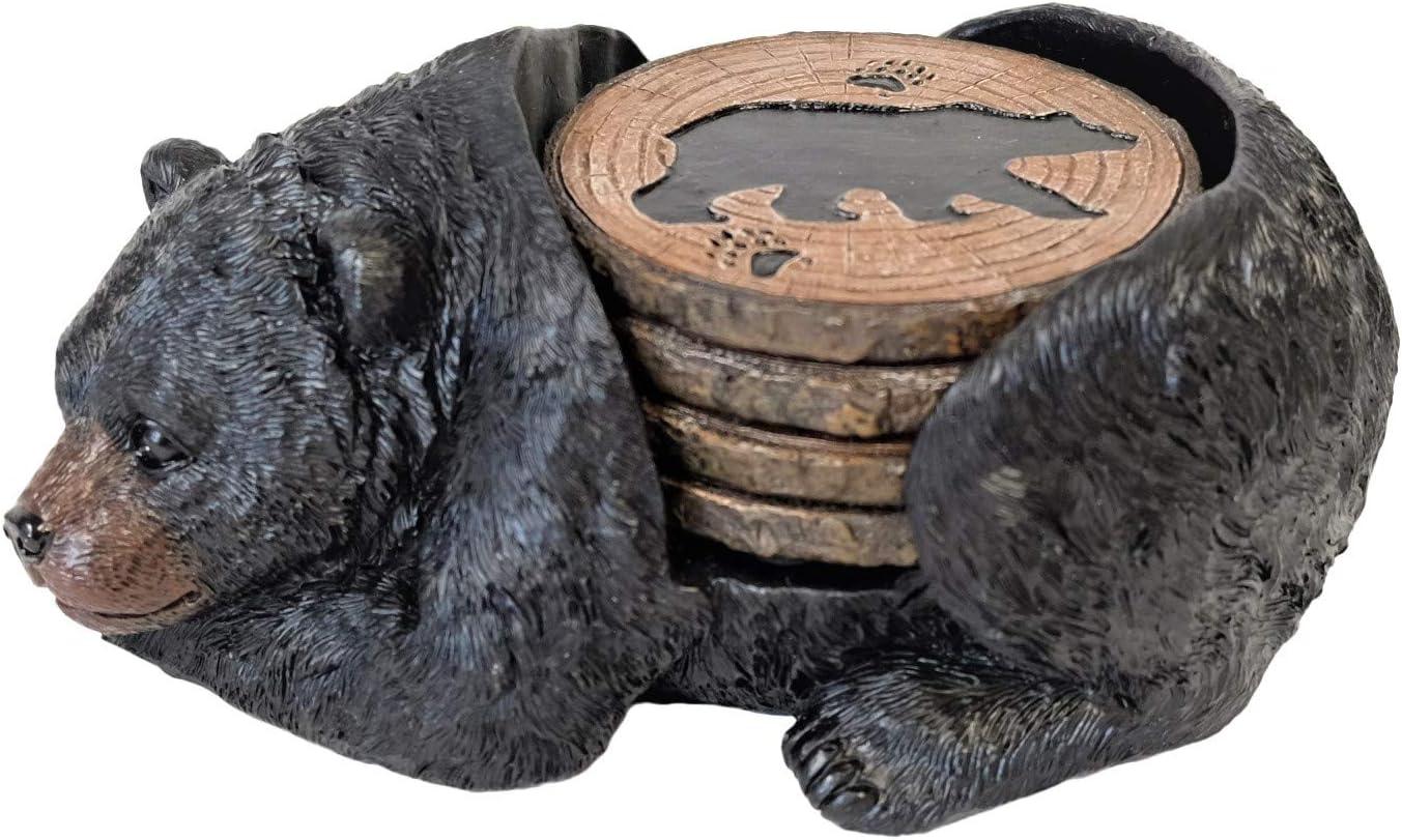 Sleeping Black Bear Coaster Set
