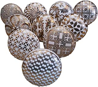 JGARTS 10 x Mix Gold Golden Color Vintage Look Flower Ceramic Knobs Door Handle Cabinet Drawer Cupboard Pull Mandala Xfer ...