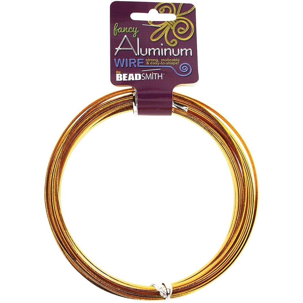 Beadsmith Aluminum Wire Flat Emboss, 1 x 5mm, Gold