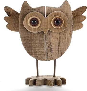 Byher 10 Inch Vintage Crafted Art Owl Statue (Wood) Animal Figurines for Home Decor, Living Room Bedroom Office Decoration (O