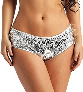 7dc4579e8800f Freebily Sexy Glitter Sequined Hipster Panties Low Rise Booty Shorts Gogo  Dance Underwear Clubwear