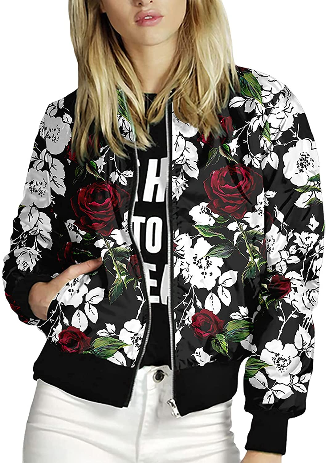 Women's Baseball High order Jacket Zip Up Fashion Bomber All stores are sold Jackets Flora Moto