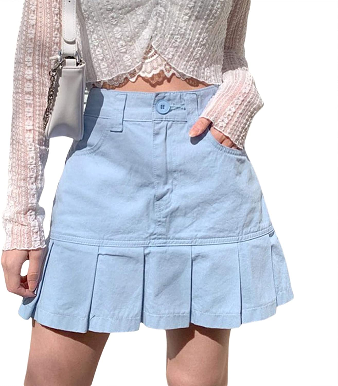 Women's Pleated Mini Fishtail Skirt Casual High Waist Ruffle Hem Short Skirt with Pockets