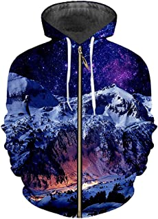 38b46659ddbe44 Men s Loose 3D Pullover Printing Snow Mountain Casual Hoody Large Size  Garment Zip Up Hoodies Sweatshirts
