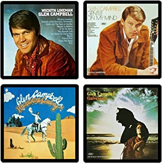 Glen Campbell - Collectible Coaster Gift Set #1 ~ (4) Different Album Covers Reproduced on Soft Pliable Coasters