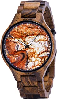 BOBO BIRD Mens Wooden Marbling Dial Wristwatches Adjustable Wood Band Fashion Casual Watch with Luminous Hands for Father'...
