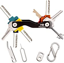 Schlüssel Organizer Schlüsselhalter, Kompakt Einfach zu bedienen, Tragen, die meisten Schlüssel passen (bis zu 20), inklusive SIM & Flaschenöffner, Karabiner & Schlüsselschlaufe (Schwarz) - PrimeZon