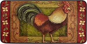 Rooster Kitchen Rugs and Mats 39 X 20 Inch Non Slip Anti Fatigue Washable Mat Chicken French Country Throw Carpet for Farmhouse Home Kitchen/Office/Bathroom Decor