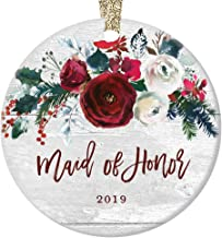 Maid of Honor Christmas Ornament 2019 Asking Sister Best Girl Friend Wedding Party Proposal Pretty Farmhouse Floral Ceramic Keepsake Present 3