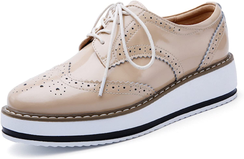 Habitaen Women Platform shoes Woman Brogue Patent Leather Flats Lace up Footwear Female Flat Oxford shoes