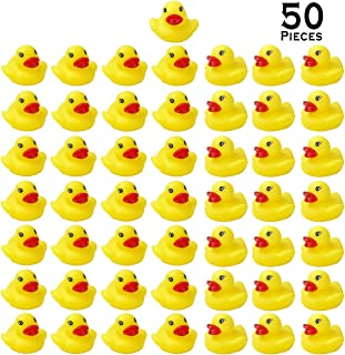 YsesoAi 50 Pack Mini Yellow Rubber Ducky Float Duck Baby Bath Toy for Kids, Baby Shower Time Birthday Party Favors