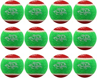 PUPTECK 12 Pack Christmas Dog Squeaky Tennis Balls for Pet Training