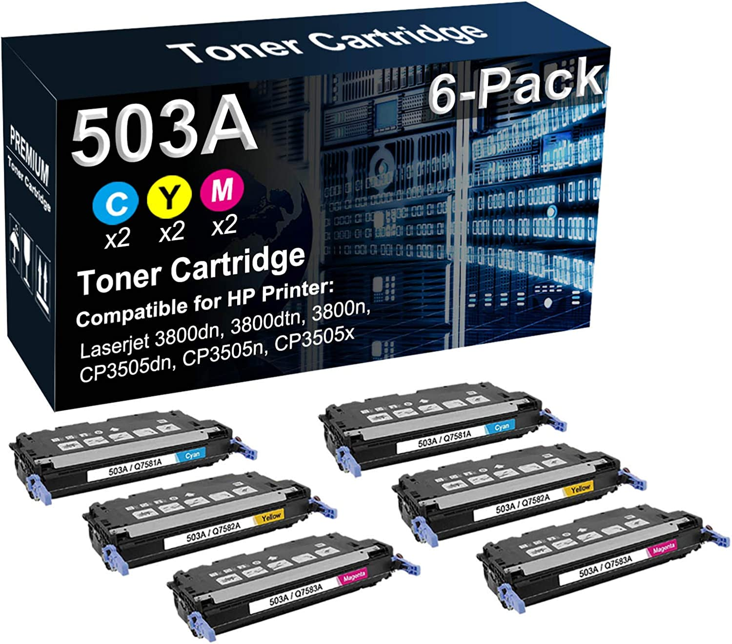 6-Pack (2C+2Y+2M) Compatible 503A (Q7581A Q7582A Q7583A) Laser Printer Toner Cartridge Used for HP 3800 3800dn 3800dtn CP3505 CP3505dn Printer (High Yield)