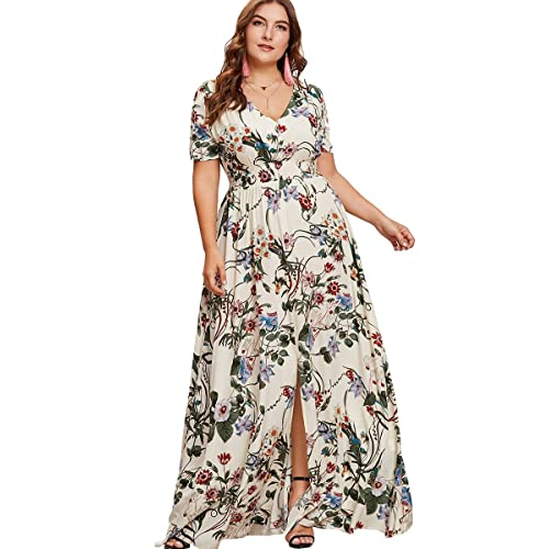 fe8aa276f850 Romwe Women's Plus Size Floral Print Buttons Short Sleeve Split Flowy Maxi  Dress