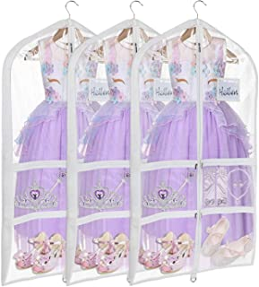 Univivi Clear PVC Dance Costume Bags (3 Pack) Garment Bag 40 Inch for Dance Competitions, with 4 Medium Clear Zipper Pockets and 1 Large Back Zippered Pocket [Upgraded Version]