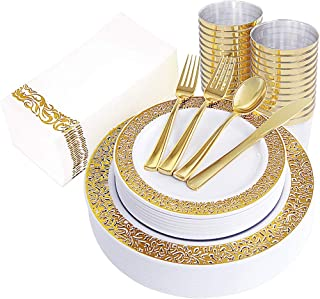 160pcs Gold Plastic Plates, Gold Disposable Silverware with Gold Napkins, Includes: 40 Forks, 20 Spoons, 20 Knives, 20 Dinner Plates, 20 Dessert Plates, 20 Tumblers 10 Oz, 20 Guest Towels