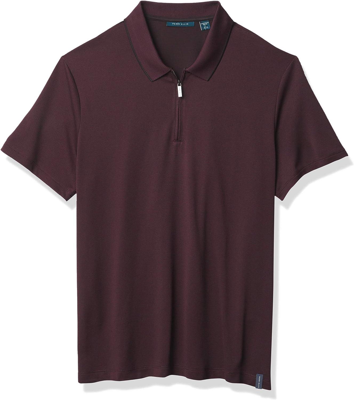 Perry Ellis Men's Short Two Save money Mail order cheap Performance Tone Z Stripe Collar