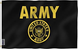 Anley Fly Breeze 3x5 Foot US Army Gold Crest Flag - Vivid Color and UV Fade Resistant - Canvas Header and Double Stitched - United States Military Flags Polyester with Brass Grommets 3 X 5 Ft