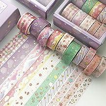 kiptyg Washi Tape, 10 Rollen Decoratieve Washi Tape-sets, Washi Tapes 3m Elke Rol, met 1 Doos, voor Dagboek, Doe-het-zelf,...