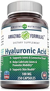 Amazing Formulas Hyaluronic Acid 100 mg 250 Capsules - Support Healthy Connective Tissue and Joints - Promote Youthful Hea...