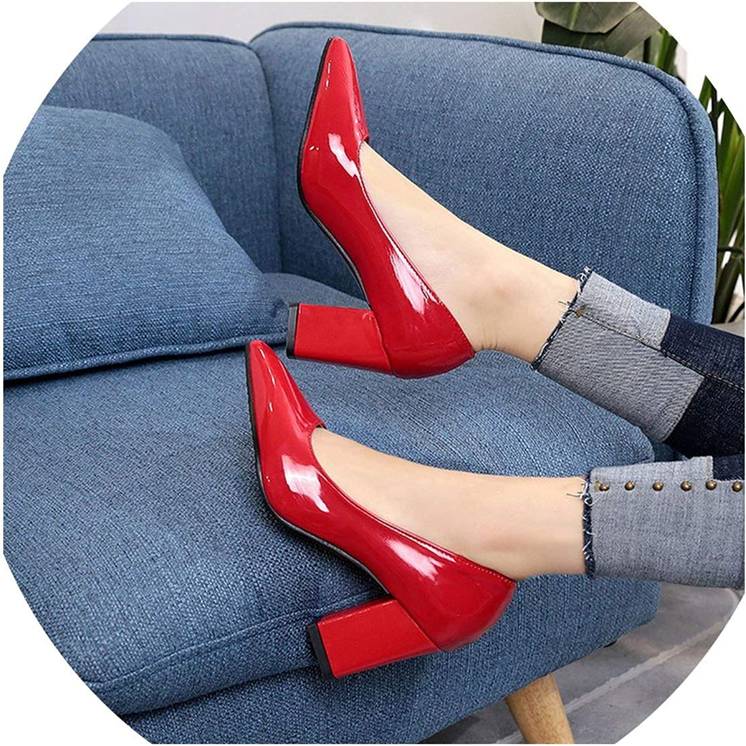 Pleasantlyday Women Pointed Thick High Heel 7 cm Single Autumn Shallow Mouth