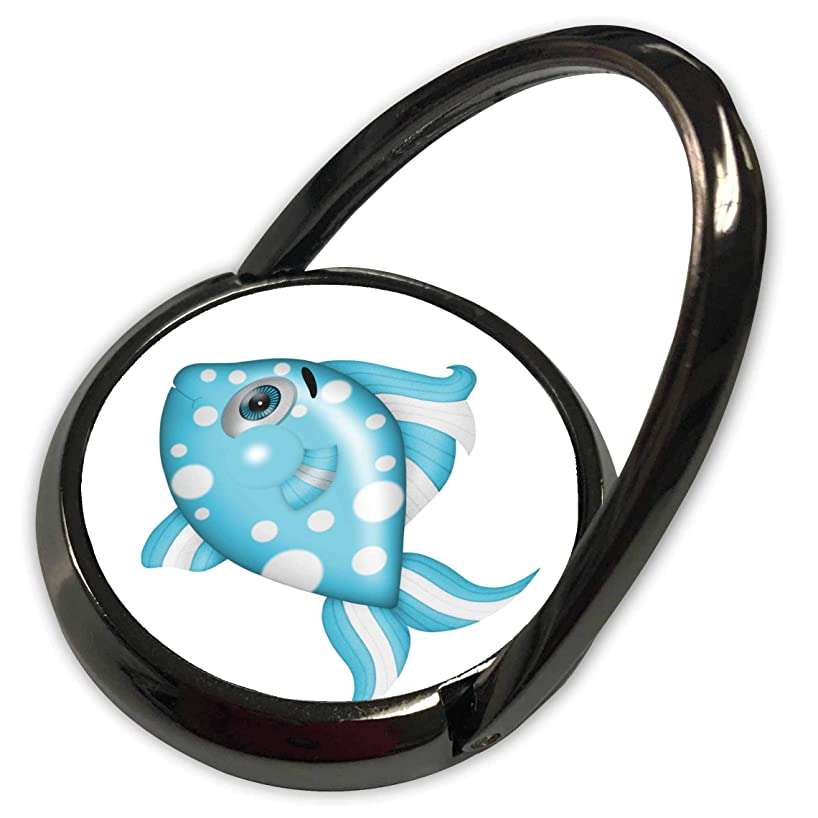 3dRose Anne Marie Baugh - Illustrations - Cute Blue and White Dot Fish Illustration - Phone Ring (phr_317936_1)