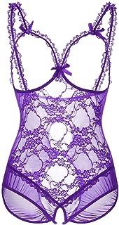 124b44bbcbcb0 Women Plus Size Lingerie Sexy Backless Lace Teddy Bodysuit One-Piece  Nightie(Purple