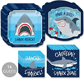 Big Dot of Happiness Shark Zone - Jawsome Shark Viewing Week Party or Birthday Party Tableware Plates and Napkins - Bundle for 16