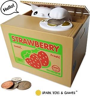 Stealing Coin Bank Kitty Cat by Spark Toys & Games - Cute Kitten Steals Coin Like Magic - Fun & Cute Piggy Bank for Kids