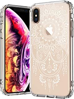 MOSNOVO Case for iPhone Xs/iPhone X, Mandala Henna Tattoo Lace Pattern Printed Clear Design Transparent Plastic Back Case with TPU Bumper Protective Case Cover for iPhone X/iPhone Xs