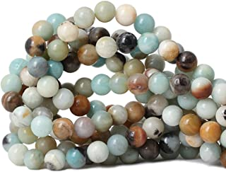 "Qiwan 35PCS 10mm Amazonite Gemstone Loose Beads Natural Round Stone Crystal Energy Stone Healing Power for Jewelry Making 1 Strand 15"""