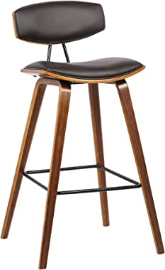 "Armen Living Fox Faux Leather Kitchen Barstool with Walnut Wood Finish and Black Steel Footrest, 25.5"" Counter Height, Brown"