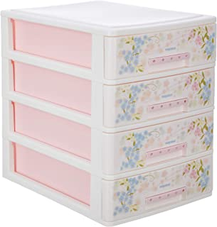 Nayasa Deluxe Plastic Tuckins, 4 Drawers, Pink - by AAROHI13