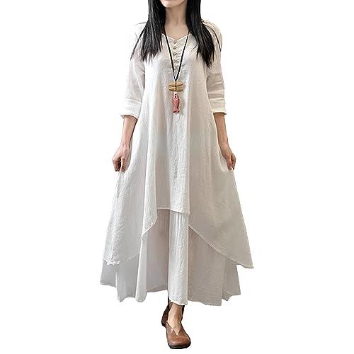 c18f50da826 R.Vivimos Women Long Sleeve Cotton Casual Loose Plus Size Irregular Long  Dresses