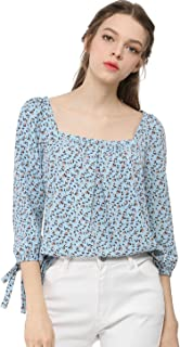 Women's Tie Cuffs 3/4 Sleeves Square Neck Floral Blouse