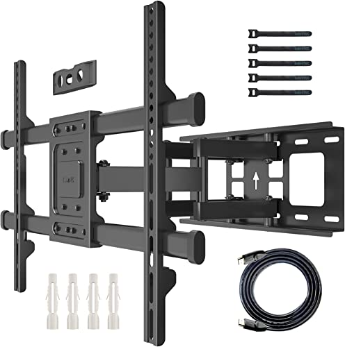 TV Wall Mount Full Motion TV Wall Mount Bracket for Most 32-70 Inches LED LCD OLED Flat&Curved TVs Heavy Duty Strong Dual Articulating Swivels Arms TV Mount Holds up to 132lbs Max VESA 600x400mm.