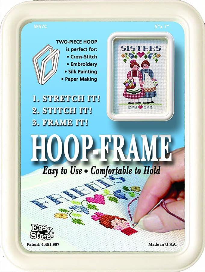 Easy Street Crafts SF557C Square Hoop-Frame, 2 Parts, 5 by 7-Inch, Cream