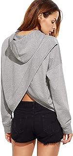 Women's Plain Long Sleeve Top Drawstring Pullover Shirt Hoodie Sweatshirts