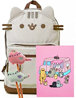 Pusheen The Cat Back to School Set - Pusheen Cat Face Backpack, Pusheen Ice Cream Truck Notebook and Two Plush Pencil Toppers - Gift for Student