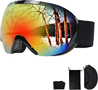 عینک اسکی YUANTANG ، عینک اسنوبرد ، عینک برفی با لنز دو لایه / پوشش ضد مه / HD / پوشش PC / محافظت در برابر UV400 / اسفنج سه لایه / سازگاری کلاه ایمنی / شیشه های زنانه و مردانه
