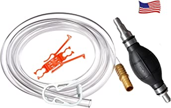 Plumber's Siphon Pro - Gas, Oil, Water - Up to 3.5 Gl. Per Min. ONLY Siphon With Multi-size Tip Designed to Fit Any Hose. Comes with 9 ft. Hose. Brass Tip Weight and Extender – See Video in Pictures