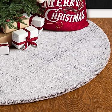 S-DEAL - Falda de árbol de Navidad de piel sintética de 31.9in, decoración de doble capa, suave alfombra navideña, decoración para interiores y exteriores, color blanco grisáceo