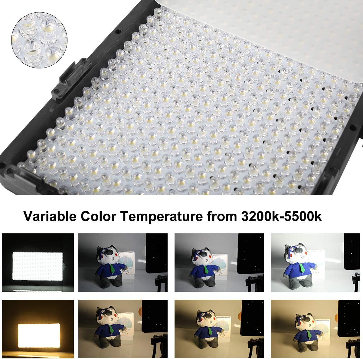 Meike MK-Y500C 500 LED Dimmable Ultra High Power Panel Digital Camera//Camcorder Video LED Light for Canon Nikon Pentax Panasonic,Sony Samsung and Olympus Digital SLR Cameras
